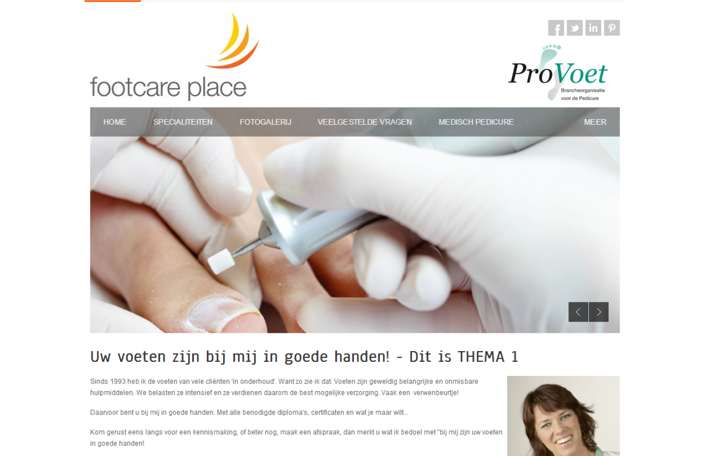 voorbeeld pedicurewbsite thema 1